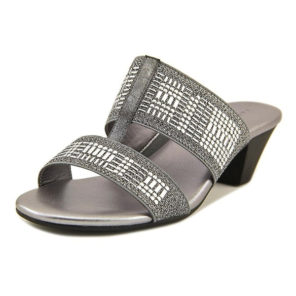 Karen Scott Womens Zana Fabric Open Toe Casual Slide Sandals, Pewter, Size 5.5