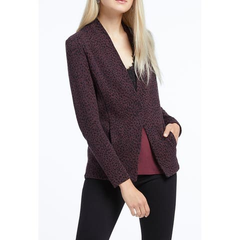 Nic+Zoe Womens Sweater Purple Multi Size 2X Plus Animal-Print Cardigan