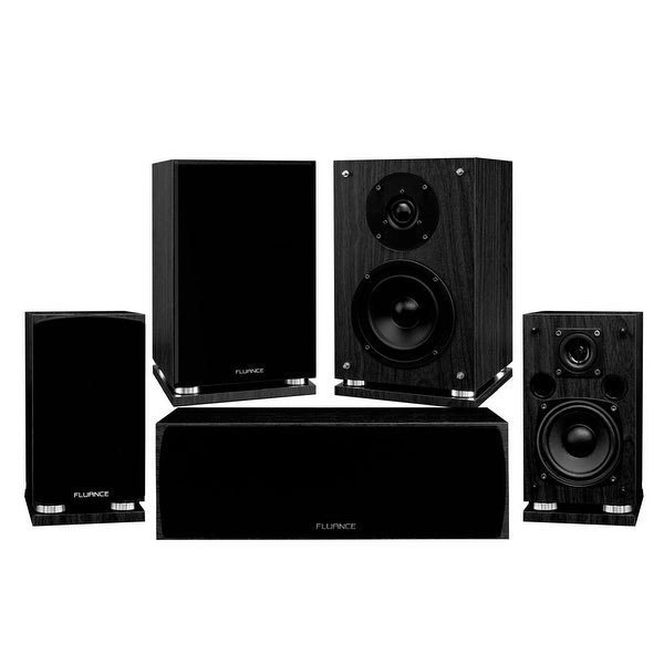 Fluance Elite Series Compact Surround Sound Home Theater 5.0 Channel System - Black Ash (SX50BC)