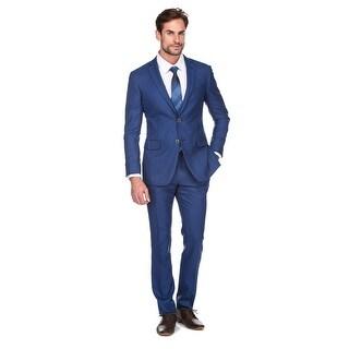 Porto Filo 100% Wool Royal Blue 2Pcs Slim Suit (Coat +Pant)