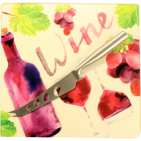 """10.5"""" Pink and Red Tempered Glass """"Wine Theme"""" Cutting Board with Silver Cheese Knife - N/A"""