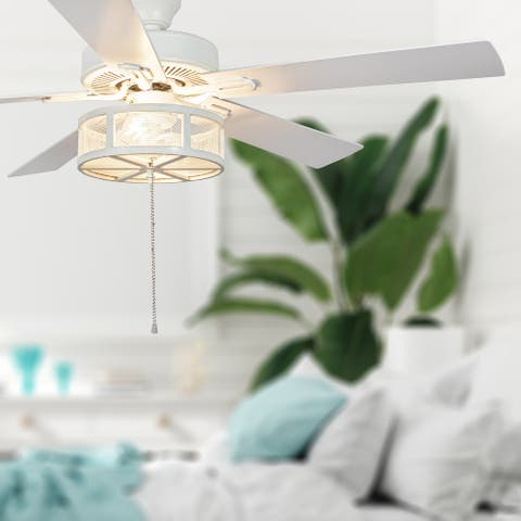 Copper Grove Uoleva 52-inch 5-blade Alabaster Mesh LED Ceiling Fan