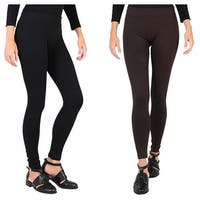 Dinamit Jeans Women's Fleece Lined Leggings  2 Pack-Small/Medium-Black-Brown