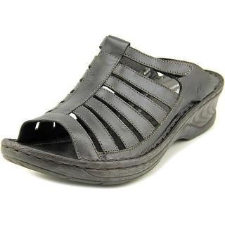 Josef Seibel Claudia Women Open Toe Leather Black Slides Sandal