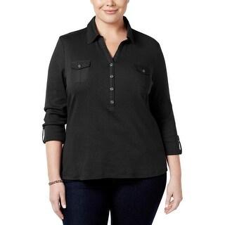Karen Scott Womens Plus Polo Top Adjustable Sleeves Cotton