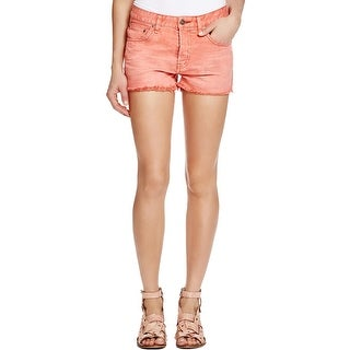 Free People Womens Uptown Denim Shorts Frayed Hem Button Fly
