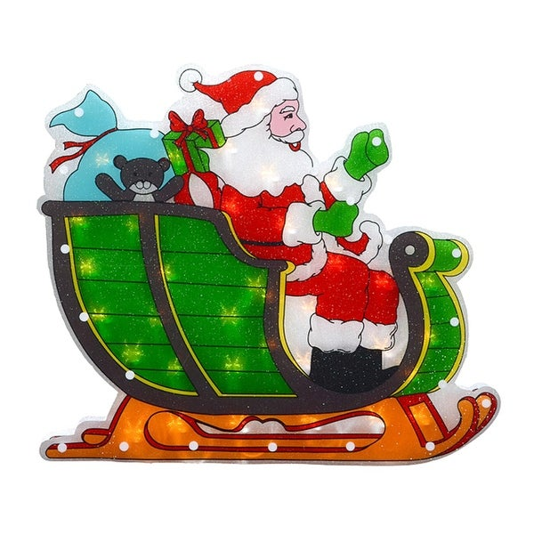 """17"""" Lighted Double-Sided Shimmering Santa in Sleigh Christmas Window Silhouette - multi"""