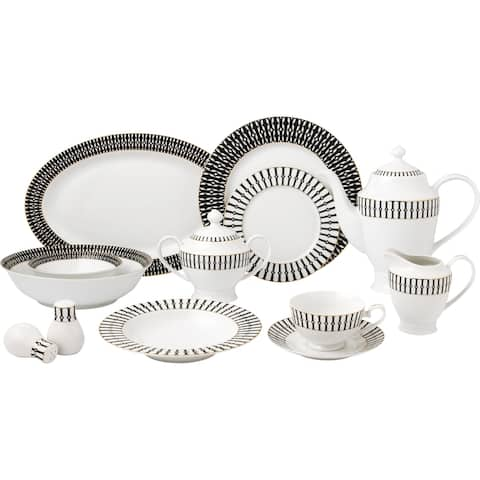 57 Piece Black and White Dinnerware Set-New Bone China Service for 8 People