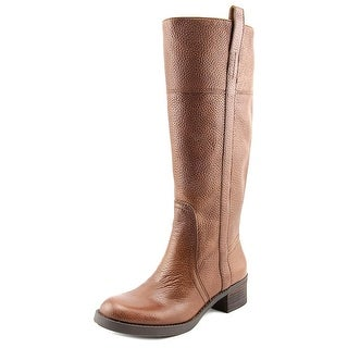 Lucky Brand Hibiscus Wide Calf Women Round Toe Leather Brown Knee High Boot