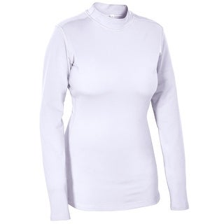 Women's Fleece Thermal Mock Neck Full Sleeves Compression Shirt for Running Work