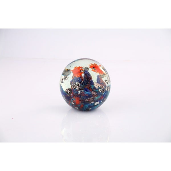 "Purple and Orange Hand Blown Round Paperweight Ball 4.5"" - N/A"