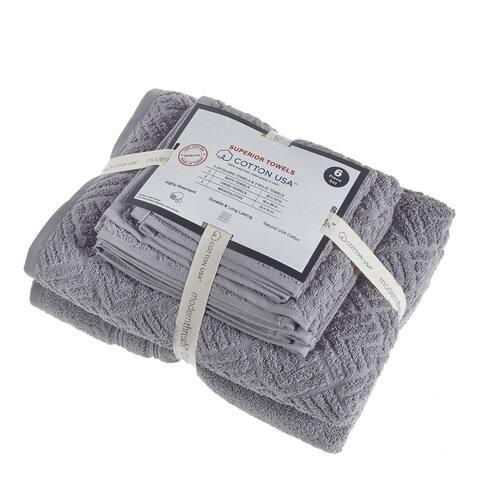 Valletta 6 Piece Fabric Towel Set with Jacquard Pattern The Urban Port, Gray