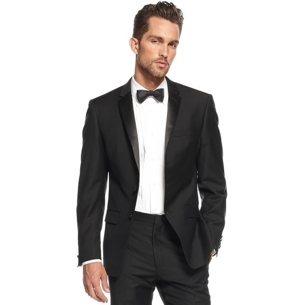 DKNY Extra Slim Fit Black Wool Two Button Tuxedo Jacket 38 Regular 38R