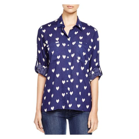 4Our Dreamers Womens Button-Down Top Linen Blend Heart Print