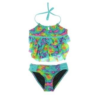 Breaking Waves Girls Crochet Tankini Swimsuit - 10