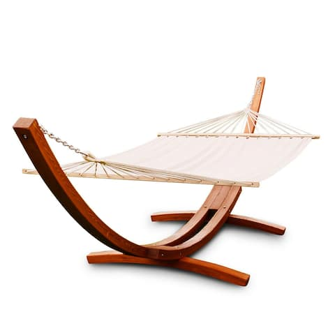 Costway 161'' Wooden Curved Arc Hammock Stand W/ Hammocksize Outdoor Patio Garden Swing - as pic