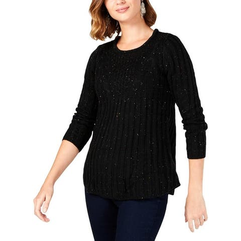 NY Collection Womens Petites Pullover Sweater Crochet Front Textured