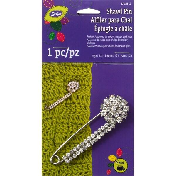 Glitz Shawl Pin W/Stone Cluster-Silver - Silver