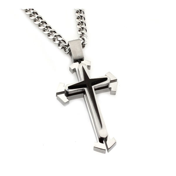 Stainless Steel Two Tone Cross Pendant - 24 inches