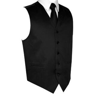 Men's Formal Tuxedo Vest, Tie & Pocket Square Set-Black-L
