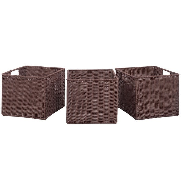 Costway Set Of 3 Wicker Rattan Storage Baskets Nest Nesting Cube Bin Box As Pic