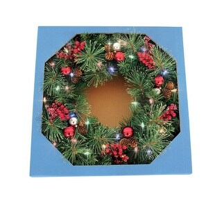 "Celebrations CHL-4PTF7-26 Castle Hill Prelit Christmas Wreath, Green, 26"" - Green"