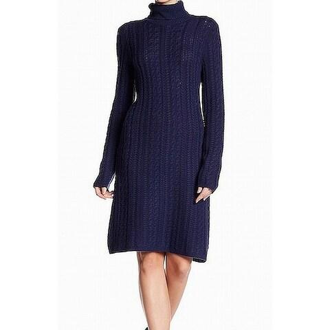 Sofia Cashmere Navy Turtleneck Large Sweater Dress Cashmere