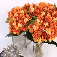 "G Home Collection Luxury Silk Hydrangea Stem in Orange 18"" Tall"