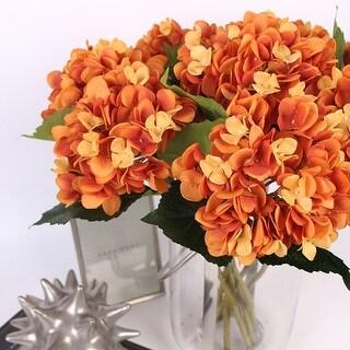 """G Home Collection Luxury Silk Hydrangea Stem in Orange 18"""" Tall"""