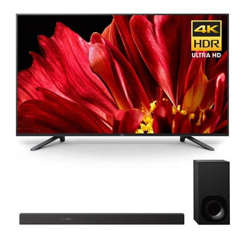 """Sony XBR-75Z9F 75"""" MASTER Series BRAVIA 4K HDR UHD TV and HT-Z9F 3.1-Channel Dolby Atmos Sound Bar with Subwoofer - Black"""