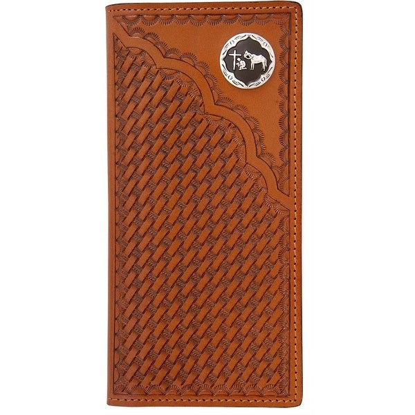 3D Western Wallet Men Leather Rodeo Pray Cowboy Natural - One size