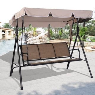 Costway 3 Person Outdoor Patio Swing Canopy Awning Yard Furniture Hammock Steel Beige|https://ak1.ostkcdn.com/images/products/is/images/direct/9f88f3a3e9c530ee7eaa737404b4a7638a9d7b97/Costway-3-Person-Outdoor-Patio-Swing-Canopy-Awning-Yard-Furniture-Hammock-Steel-Beige.jpg?impolicy=medium