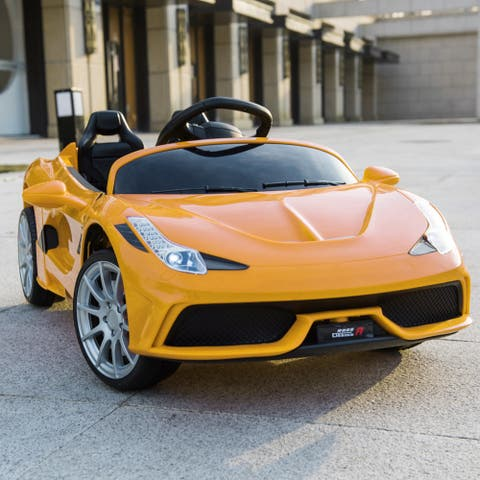 "12V Kids Ride On Sports Car 2.4GHZ Remote Control Yellow - 7'6"" x 9'6"" - 7'6"" x 9'6"""
