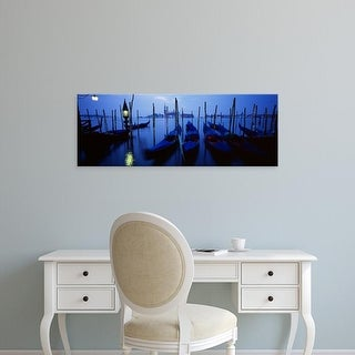 Easy Art Prints Panoramic Images's 'Gondolas moored in a canal, Grand Canal, Venice, Italy' Premium Canvas Art