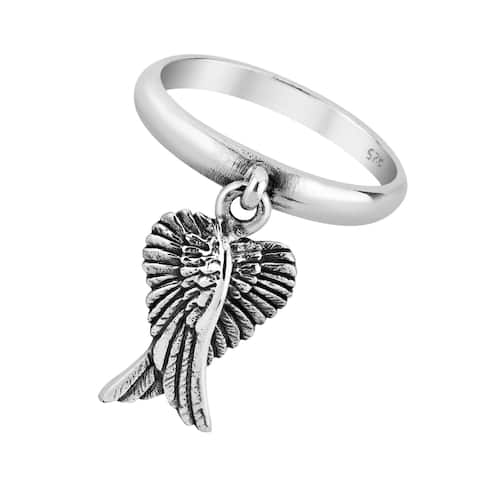 Handmade Mythical Heart Shape Angel Wing Sterling Silver Dangle Ring (Thailand)