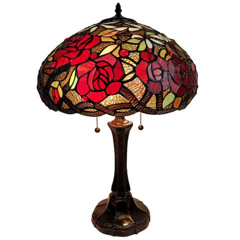 """Tiffany Style Table Lamp 24"""" Tall Stained Glass Floral Roses Decor Nightstand Bedroom Office Handmade AM1535TL16B Amora Lighting"""