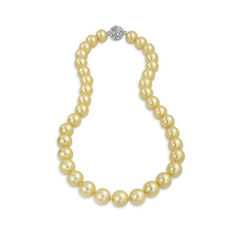 Champagne Imitation Pearl Strand Necklace Ball Crystal Clasp 10MM