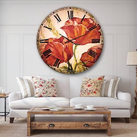 Designart 'Three Poppies Flower' Floral Wall CLock
