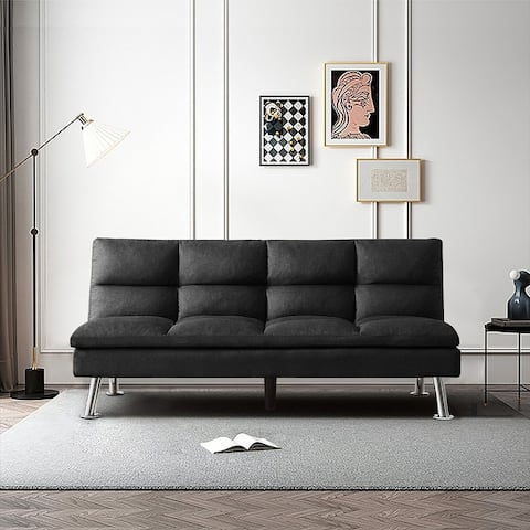 """71.7""""Futon Lounge Adjustable Fabric Sofa Bed with Solid Wood Legs,Gray"""