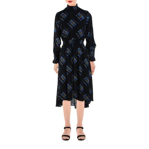 Nanette Nanette Lepore Womens Mari Midi Dress Printed Smocked - Marina