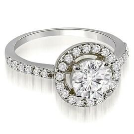 0.75 cttw. 14K White Gold Halo Round Cut Diamond Engagement Ring
