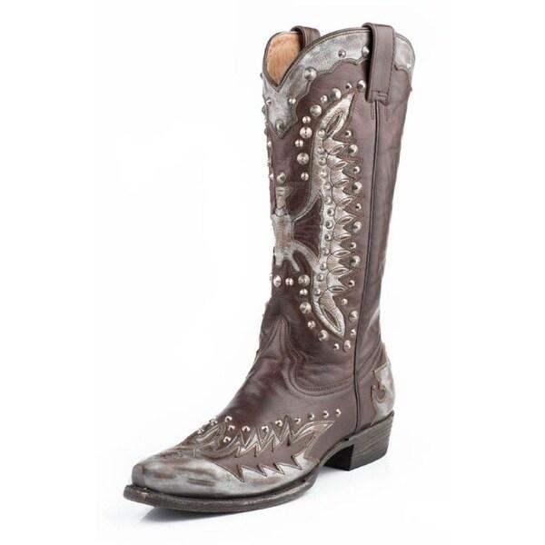 Stetson Western Boots Womens Eartha Eagle Gray