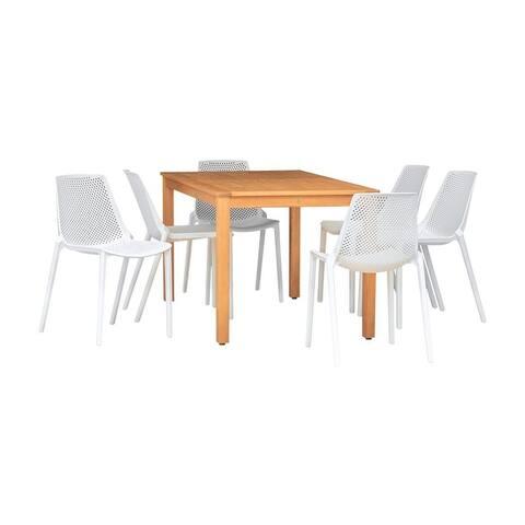 Perce Eucalyptus/Resin 7-piece Rectangular Patio Dining Set with Teak Finish by Havenside Home