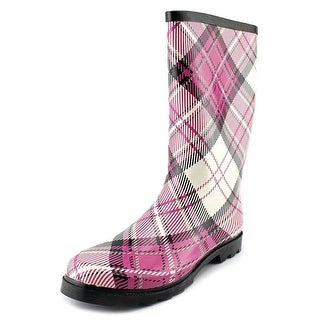 West Blvd Rubber Boots Women Round Toe Synthetic Pink Rain Boot