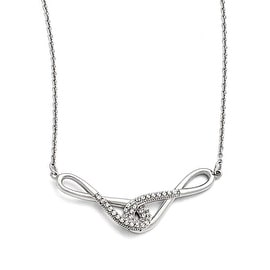 Chisel Stainless Steel Polished Infinity Symbols with CZs Necklace - 19 in