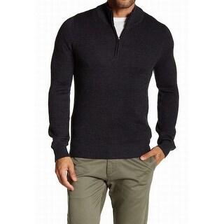 Toscano NEW Gray Shadow Mens Size XL Quarter Zip Wool Blend Sweater