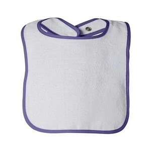 Rabbit Skins Infant Contrast Trim Terry Bib - Purple - One Size