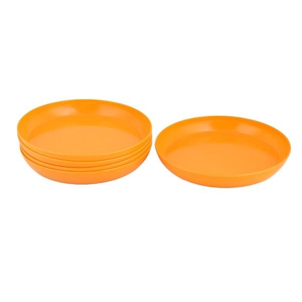 Outdoor Garden Melamine Round Flower Pot Holder Tray Orange 10.2 Inch Dia 5pcs
