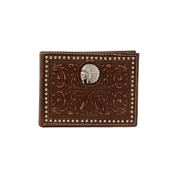Ariat Western Wallet Mens Bifold Indian Chief Skull Brown - One size