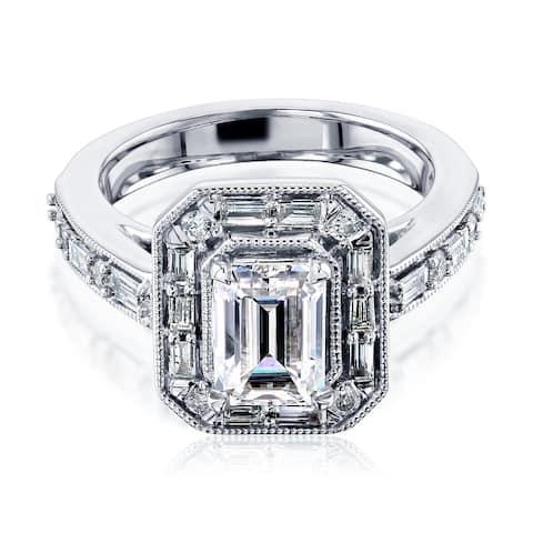 Annello by Kobelli 10K Gold Moissanite The Daisy Art Deco Emerald Engagement Ring (HI/VS, HI/I, HI/I)